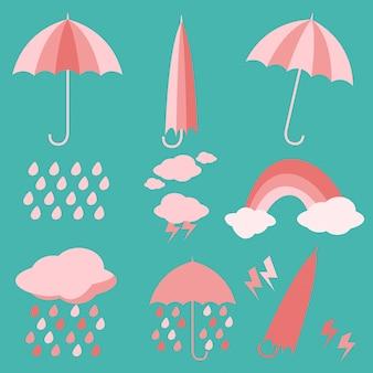 Deszcz vector umbrella płynny wzór