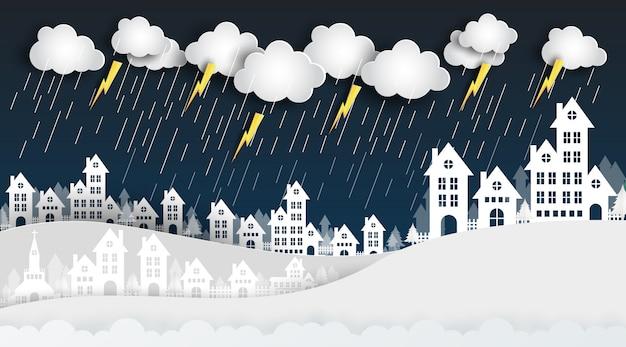 Deszcz w białym mieście nocą tworzy projekt