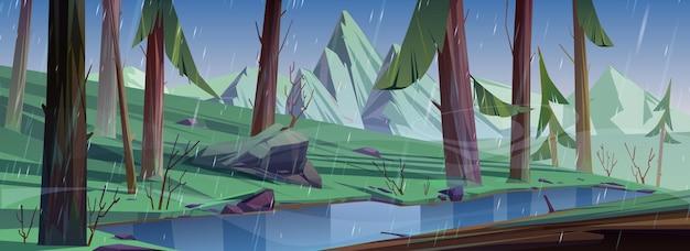 Deszcz w lesie iglastym z jeziorem i górami. przyroda ze stawem w głębokim lesie. sceneria tło z dzikimi roślinami