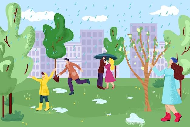 Deszcz w parku miejskim i ludzie używający parasola
