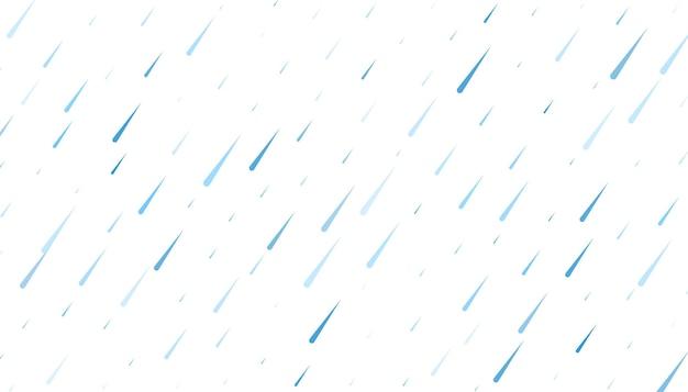 Deszcz ze spadającymi kroplami wody na białym tle