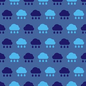 Deszczowa chmura. jednolity wzór deszczowych chmur. symbol złej pogody. ilustracja wektorowa.