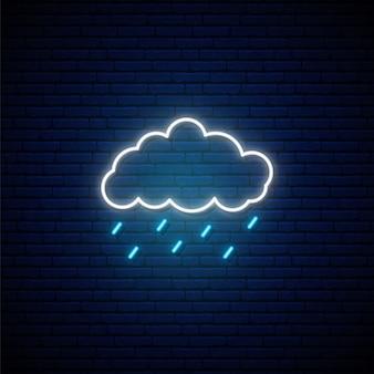 Deszczowa pogoda neon znak.