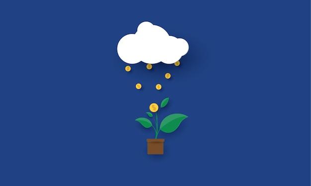 Deszczowe monety spadające do rośliny ze złotą monetą dolarową rozwój biznesu koncepcja inspiracji biznesu