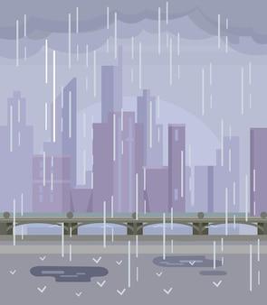 Deszczowe puste miasto żadnych ludzi płaska ilustracja kreskówka