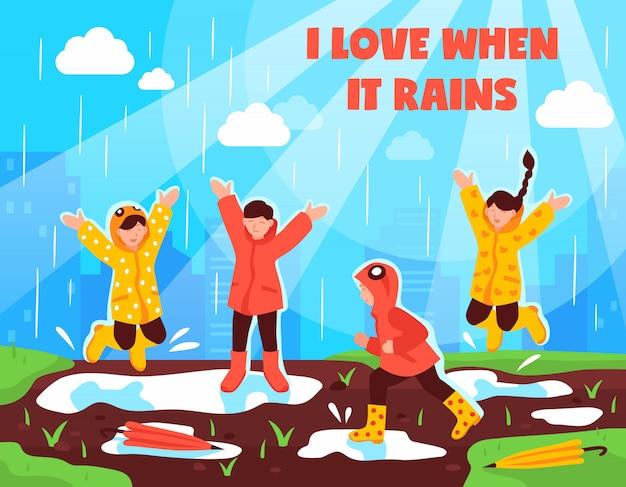 Deszczowy dzień dzieci na zewnątrz