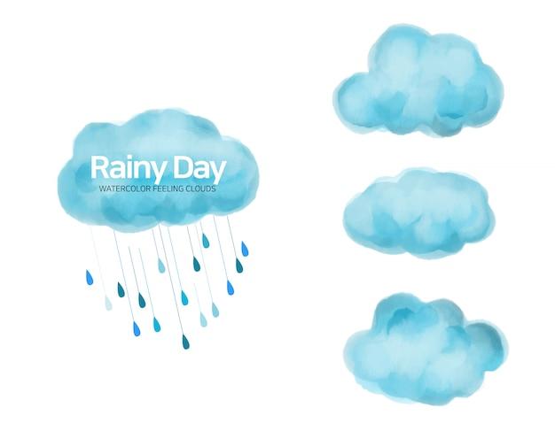 Deszczowy dzień, kolekcja chmury akwarela