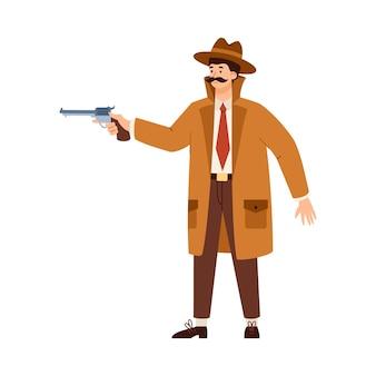 Detektyw lub szpieg w kapeluszu celującym z pistoletem płaski wektor ilustracja na białym tle