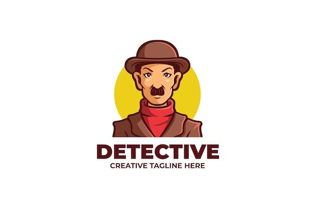 Detektyw tajemniczy mężczyzna maskotka logo