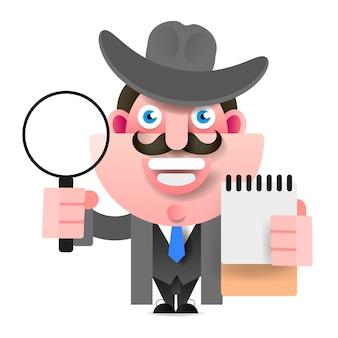 Detektyw trzyma lupę. ilustracja wektorowa