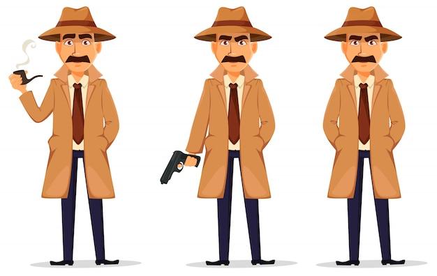 Detektyw w kapeluszu i płaszczu
