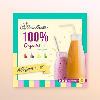 Detox organic smoothie bar kwadratowa ulotka