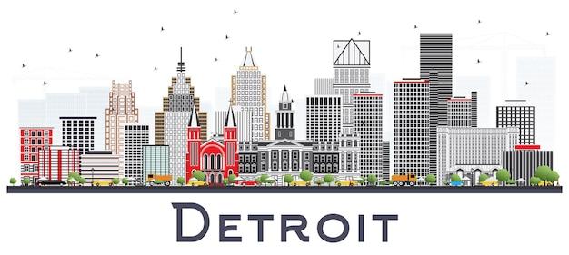 Detroit michigan city skyline z szarymi budynkami na białym tle