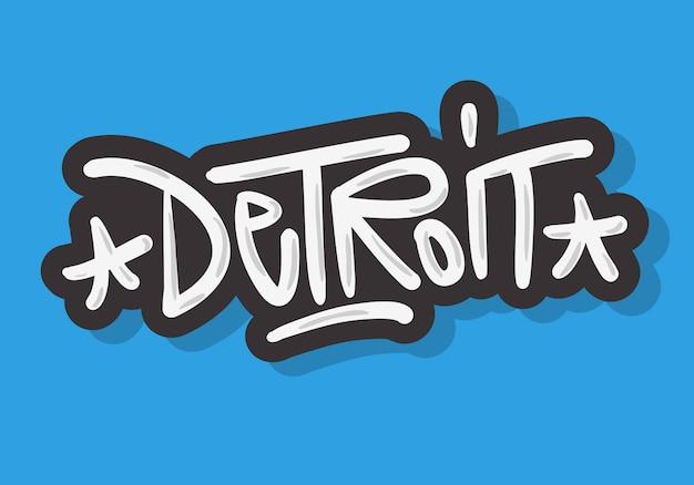 Detroit michigan usa urban label sign logo ręcznie rysowane pędzlem napis kaligrafii