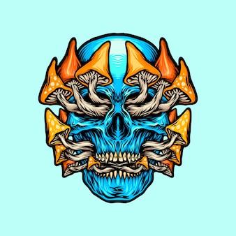 Devil tooth skull magic mushrooms illusrations