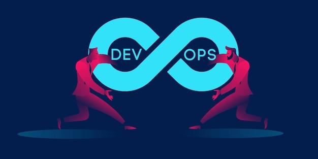 Devops koncepcja biznesowa ilustracja w czerwonych i niebieskich neonowych gradientach