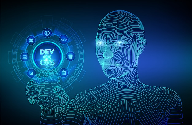 Devops. zwinna koncepcja rozwoju i optymalizacji. wireframed cyborg ręka dotykając interfejs cyfrowy.