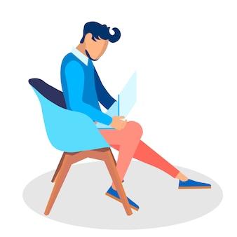 Deweloper działający z laptopem ilustracji