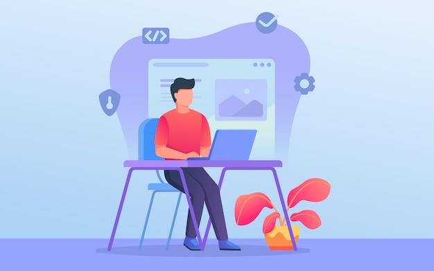 Deweloper strony internetowej lub grafik pracuje z laptopem na biurku