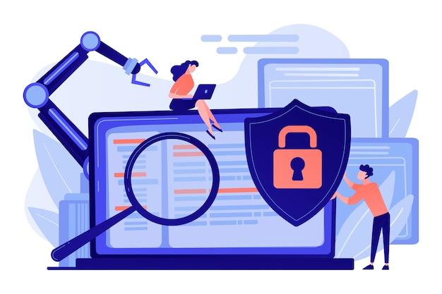 Deweloperzy, robot pracują na laptopie z lupą. cyberbezpieczeństwo przemysłowe, złośliwe oprogramowanie z zakresu robotyki przemysłowej, ochrona koncepcji robotyki przemysłowej