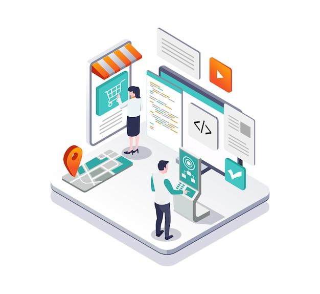 Deweloperzy tworzą aplikacje i mapy e-commerce