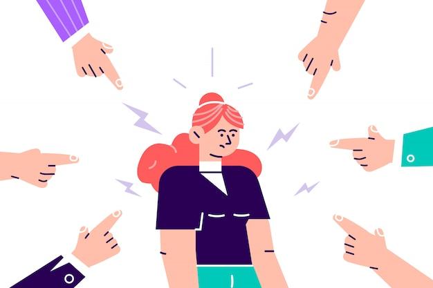 Dezaprobata społeczna. smutna lub przygnębiona młoda kobieta otoczona rękami wskazującymi na nią palcami wskazującymi. koncepcja kołdry, oskarżenia, publicznej krytyki i obwiniania ofiar. ilustracja kreskówka płaski
