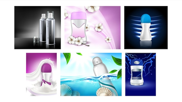 Dezodorant antyperspirant plakaty promocyjne wektor zestaw. roll and spray, suche i żelowe dezodoranty puste opakowania kolekcja banery reklamowe marketingowe. styl koncepcji kolorów szablon ilustracje