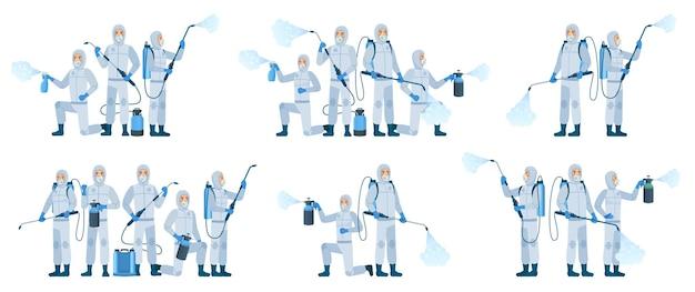 Dezynfekcja antywirusowa. osoby noszące kombinezony ochronne używają sprayu odkażającego. zespół dezynfekcji, zestaw ilustracji. profilaktyka i bezpieczeństwo, zespół antywirusowy biohazard