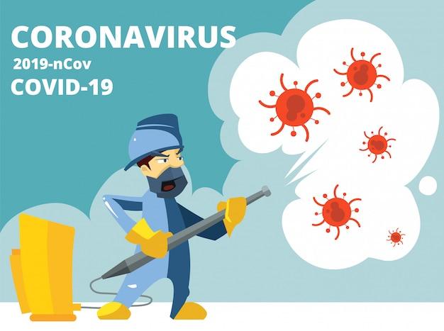 Dezynfekcja. coronavirus covid 19, ochrona przed wirusami. środek dezynfekujący w sprayu zabija drobnoustroje i bakterie. ilustracja kreskówka dezynfektora pracy