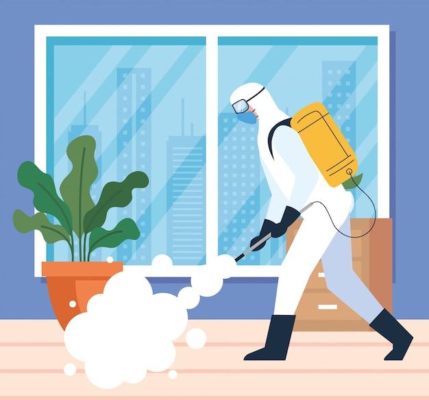 Dezynfekcja domu przez komercyjną służbę dezynfekującą, pracownik dezynfekujący w kombinezonie ochronnym i sprayu zapobiega projektowi ilustracji covid 19