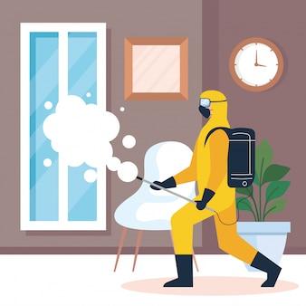 Dezynfekcja domu przez komercyjną służbę dezynfekującą, pracownik dezynfekujący w kombinezonie ochronnym
