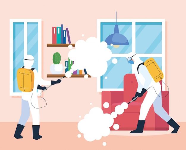 Dezynfekcja domu przez komercyjne służby dezynfekujące, pracownicy dezynfekujący