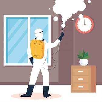 Dezynfekcja domu przez komercyjne służby dezynfekujące, pracownik dezynfekujący w kombinezonie ochronnym i sprayu