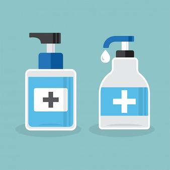 Dezynfekcja. higiena dłoni. butelka dezynfekująca, mycie. ilustracja
