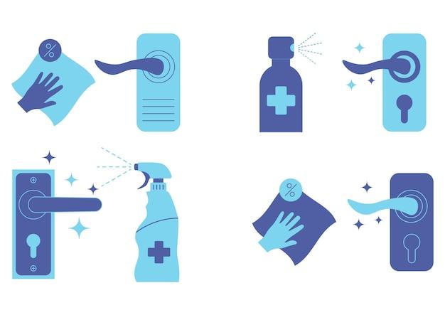 Dezynfekcja klamek drzwi. użyj sprayu antyseptycznego, aby zapobiec rozprzestrzenianiu się choroby. klamki i spray antybakteryjny. odkażający spray i chusteczka czyszczenie i dezynfekcja klamki. wektor
