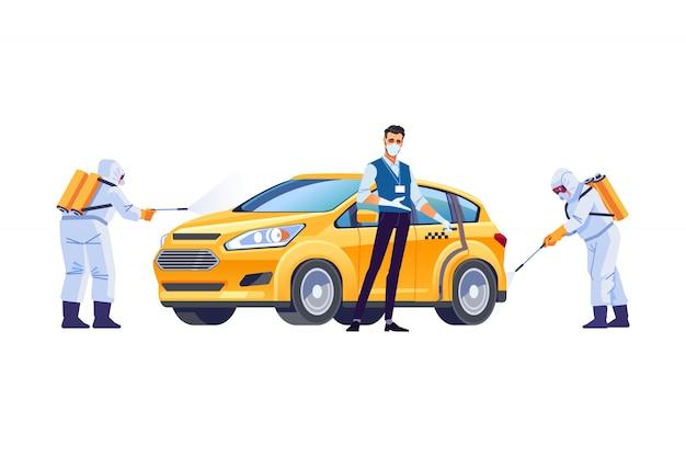 Dezynfekcja koronawirusem. taksówkarz w masce ochronnej i rękawiczkach. ochrona przed pandemią covid-19 lub coronavirus. ilustracja kreskówka styl na białym tle