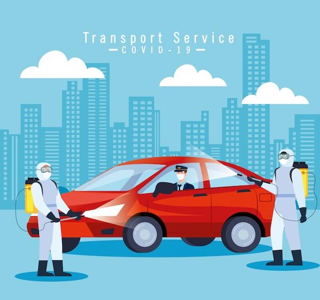 Dezynfekcja samochodu, koronawirus zapobiegający, czyste powierzchnie w samochodzie za pomocą sprayu dezynfekującego, osoby z kombinezonem