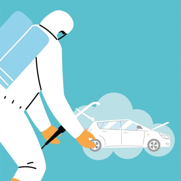 Dezynfekcja samochodu serwisowego za pomocą koronawirusa lub covida 19