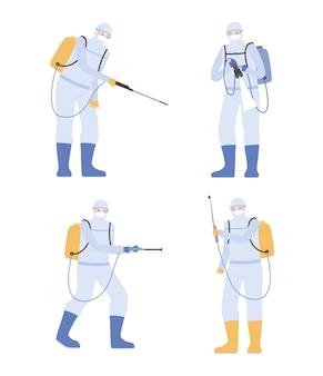 Dezynfekcja wirusów, pracownik zatrzymujący covid-19 w kombinezonach ochronnych, koronawirus covid 19, środek zapobiegawczy