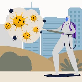 Dezynfekcja wirusów u mężczyzny w białym garniturze przeciwgazowym