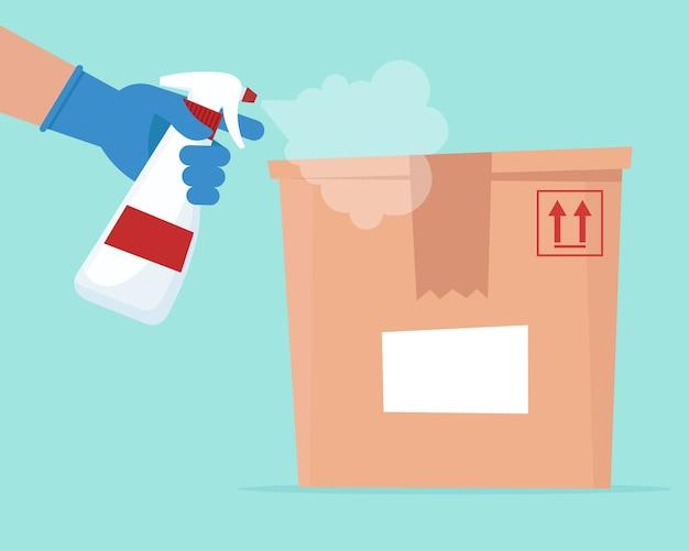 Dezynfekcja za pomocą środka odkażającego do pudełka dostawy. koncepcja bezpiecznej dostawy.