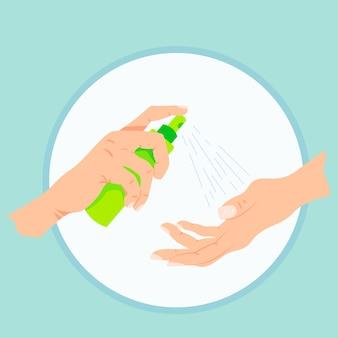 Dezynfekcji rąk ilustracja płaska konstrukcja