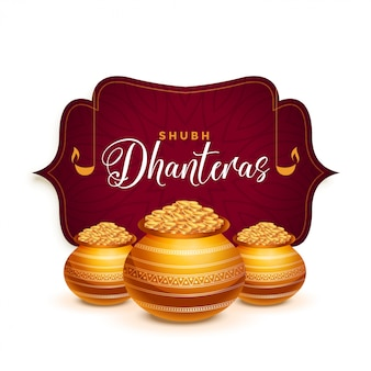 Dhanteras festiwal kartkę z życzeniami z złoty garnek