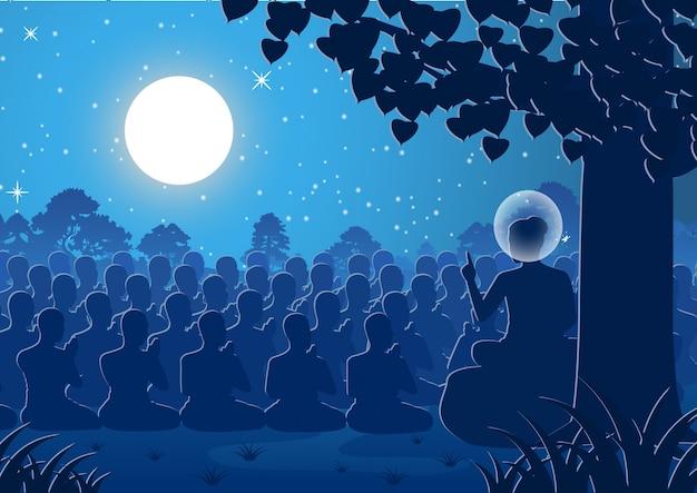 Dharma kazania pana buddy do tłumu mnichów