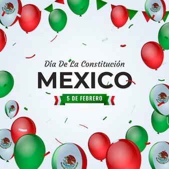 Día de la constitución z realistycznymi balonami