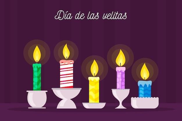 Dia de las velitas z zapalonymi świecami