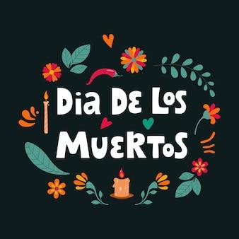 Dia de los muertos, day of the dead hiszpański napis tekstowy z kwiatową dekoracją. ilustracja.