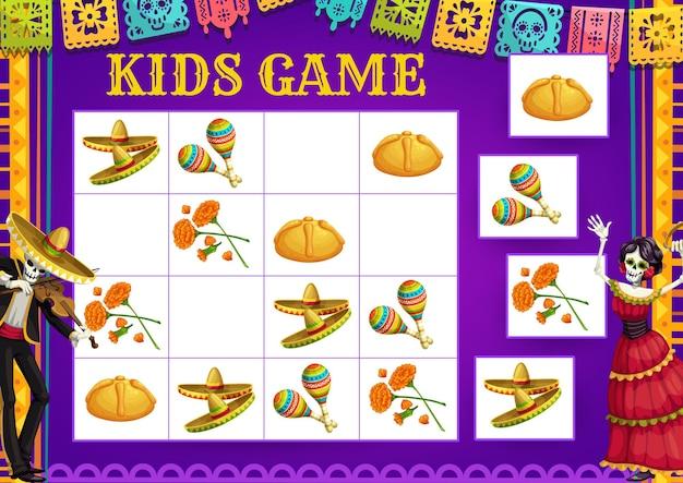 Dia de los muertos day sudoku gra, wektor puzzle edukacyjne dla dzieci. dopasuj grę edukacyjną, zagadkę i test uwagi z meksykańskimi świątecznymi szkieletami, sombrero, marakasami i nagietkiem z dnia umarłych