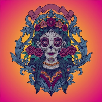 Dia de los muertos. ilustracja meksykańska catrina