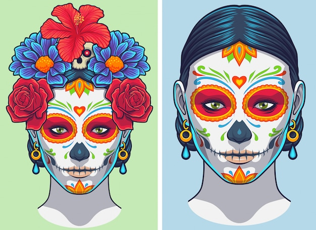 Dia de los muertos lady makijaż i akcesoria